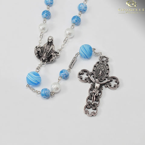 Miraculous Medal Rosary with Genuine Murano Beads by Ghirelli
