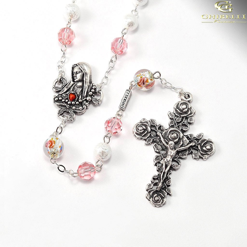 Our Lady of Fatima Rosary With Genuine Swarovski beads by Ghirelli