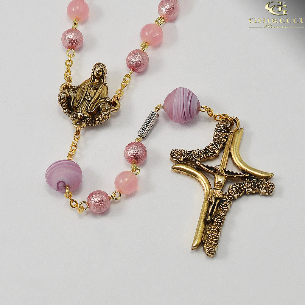 Madonna With Roses Genuine Murano and Antique Gold Rosary  By Ghirelli