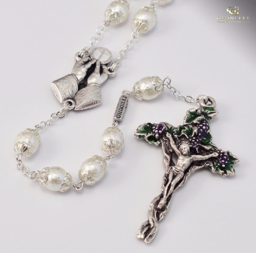Holy Eucharist Silver Plated Rosary  By Ghirelli