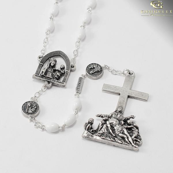 Official Notre Dame de Paris Cathedral Rosary with white beads designed exclusively by Ghirelli