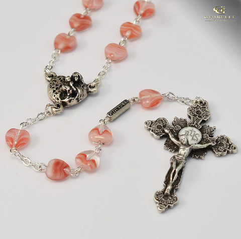 Saint Valentine Silver Plated Rosary With Heart Shaped Beads By Ghirelli