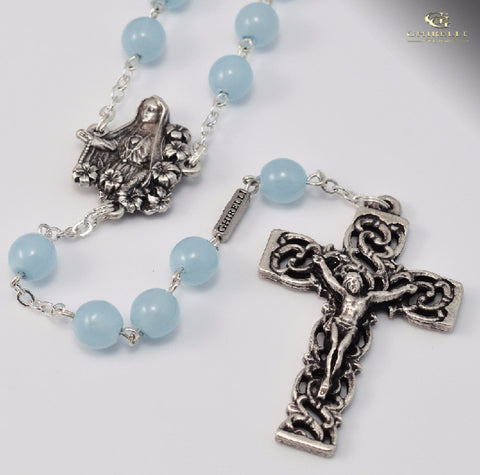 Fatima Silver Plated 8mm Bohemian Glass Rosary By Ghirelli