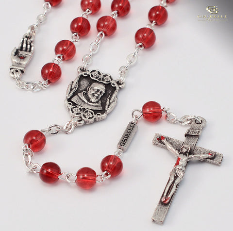 Saint Pio Of Pietrelcina Silver Plated Rosary By Ghirelli
