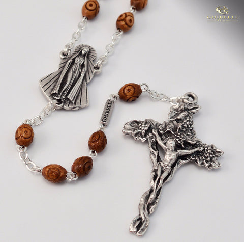 Fatima Silver Plated Rosary With Wooden Beads  By Ghirelli