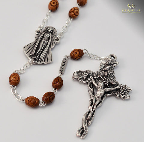 Our Lady Of Fatima Silver Plated Rosary With Wooden Beads  By Ghirelli