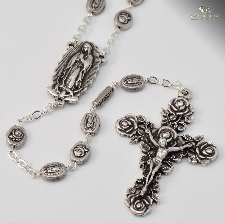 Our Lady Of Guadalupe Silver Plated Rosary   By Ghirelli