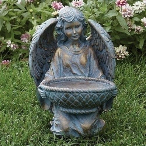 Tranquil Angel With Basket Bronze Style Garden Statue