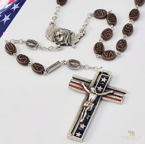 The USA Rosary In Antique Silver By Ghirelli