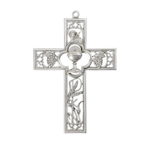First Communion Pewter Gift Cross    Hand Made USA