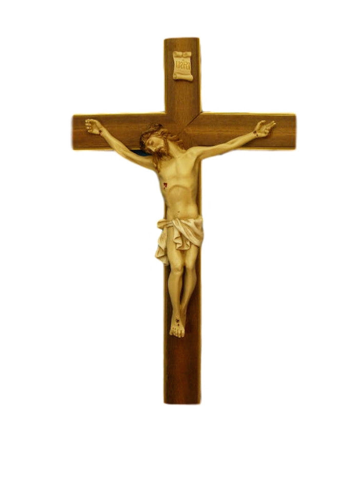 "Jesus Wall Crucifix Wooden Cross With Alabaster Corpus  LARGE 20"" Tall Made In Italy"