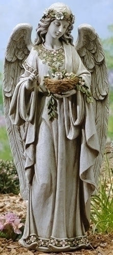 "Guardian Angel With Flowers Holding Birds Nest 24"" Tall Garden Or Patio"