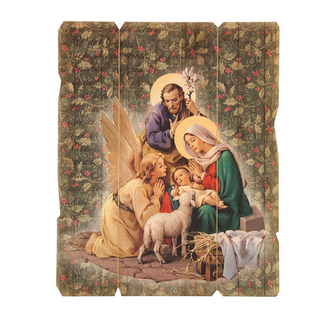 Holy Family With Angel Nativity Wooden Wall Plaque   Made in Italy