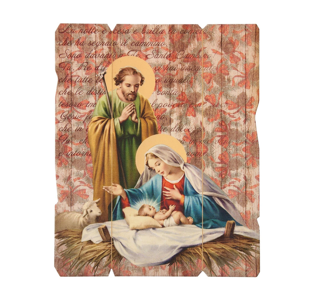 Holy Family Nativity Scene Wooden Wall Plaque