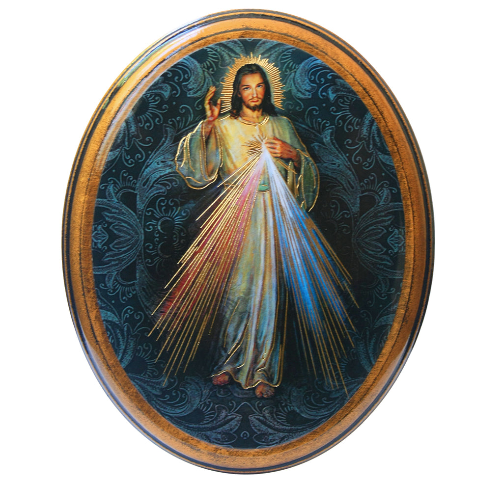 Divine Mercy of Jesus wooden wall plaque for home or chapel.