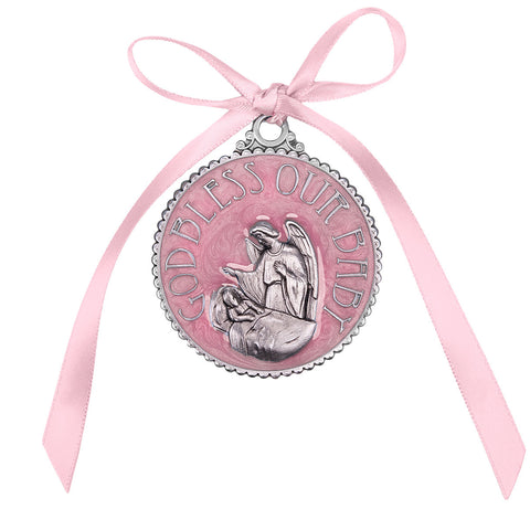 Guadian Angel Baby Girl Pink Crib Medal