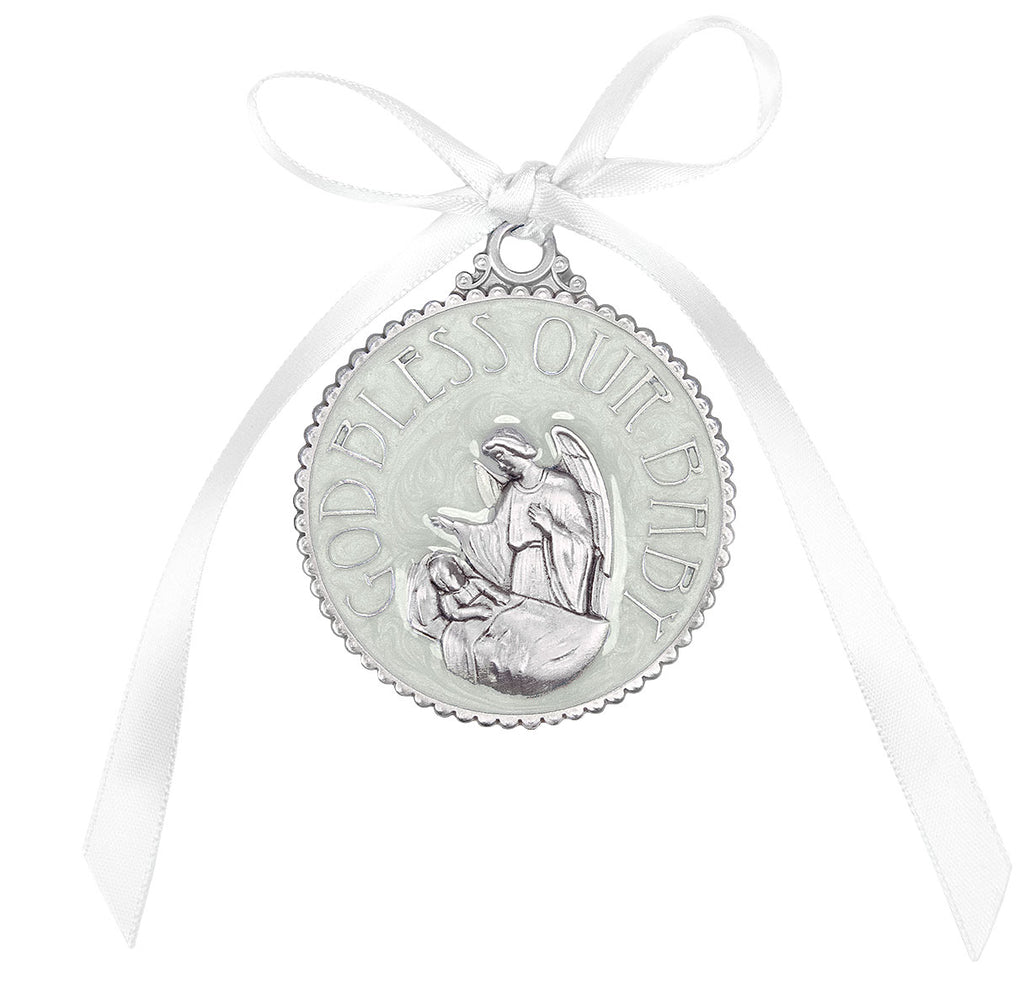 Guadian Angel With Baby White Crib Medal