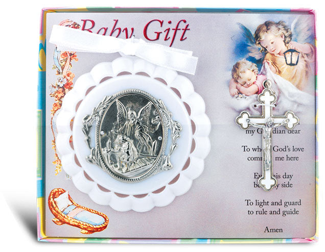 White Baby Crib Medal And Cross Gift Set