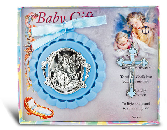 Blue Baby Crib Medal And Cross Gift Set