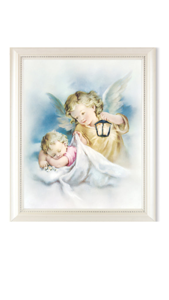 Guardian angel with lamp print in pearl frame with glass