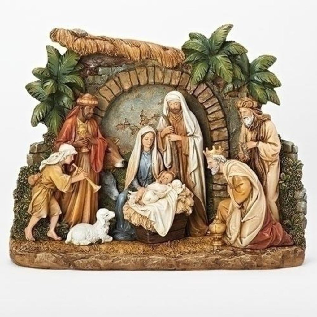Rustic Nativity Scene With Kings Adoring The New Born King Jesus