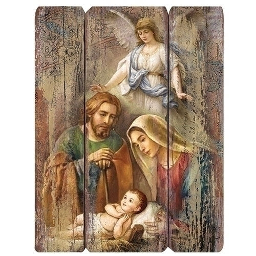 Holy family wooden wall plaque with angel