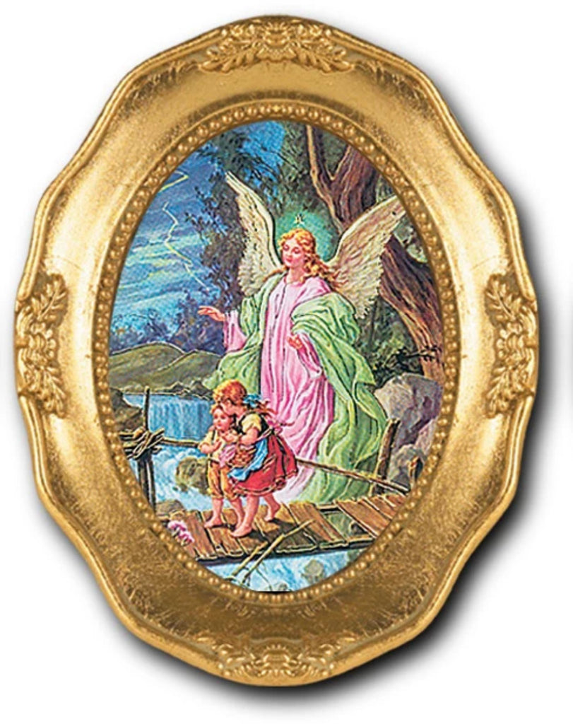 Guardian angel print in ornate gold frame