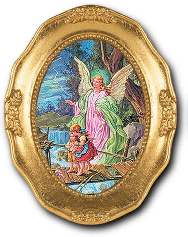 Guardian Angel With Children Print In Ornate Frame