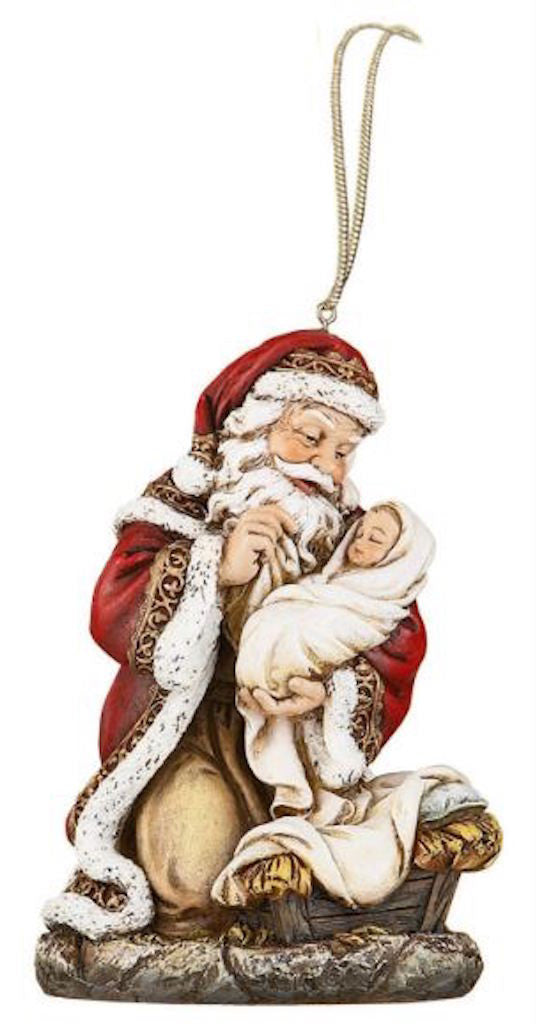 Adoring Santa With Baby Jesus Christmas Ornament – Beattitudes ...