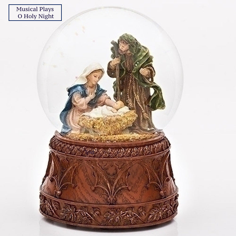 Nativity Globe Plays O Holy Night Musical Glitter Dome Mary Baby Jesus Joseph