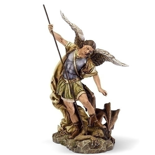 Archangel Saint Michael Hand Painted Protection Statue Bright colors and amazing details.