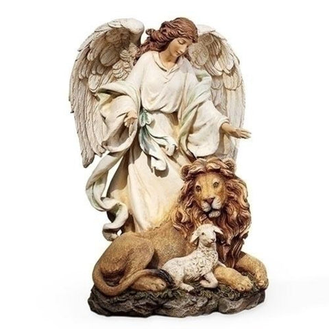 Angel With Lion And Lamb Spiritual Peaceful Figure