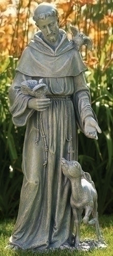 "Saint Francis With Deer Garden Statue Large 36.5"" Tall."