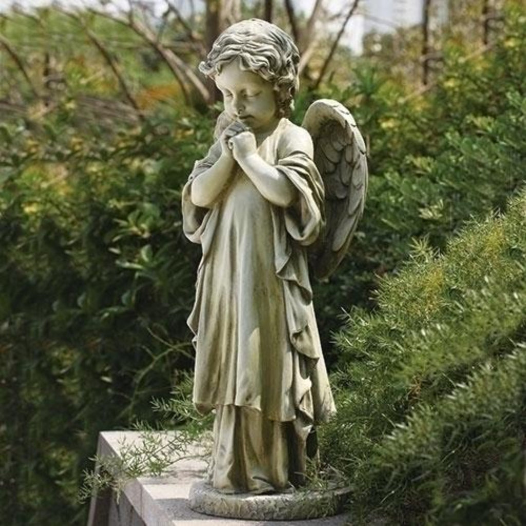 Young Guardian Angel Figure Praying Large Garden Or Memorial Statue
