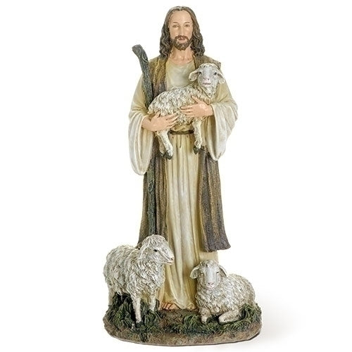 Jesus The Good Shepherd With Lambs Figure.