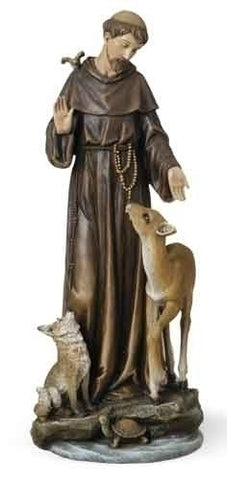 Saint Francis With Deer Patron St. Of Animals Figure Renaissance Collection