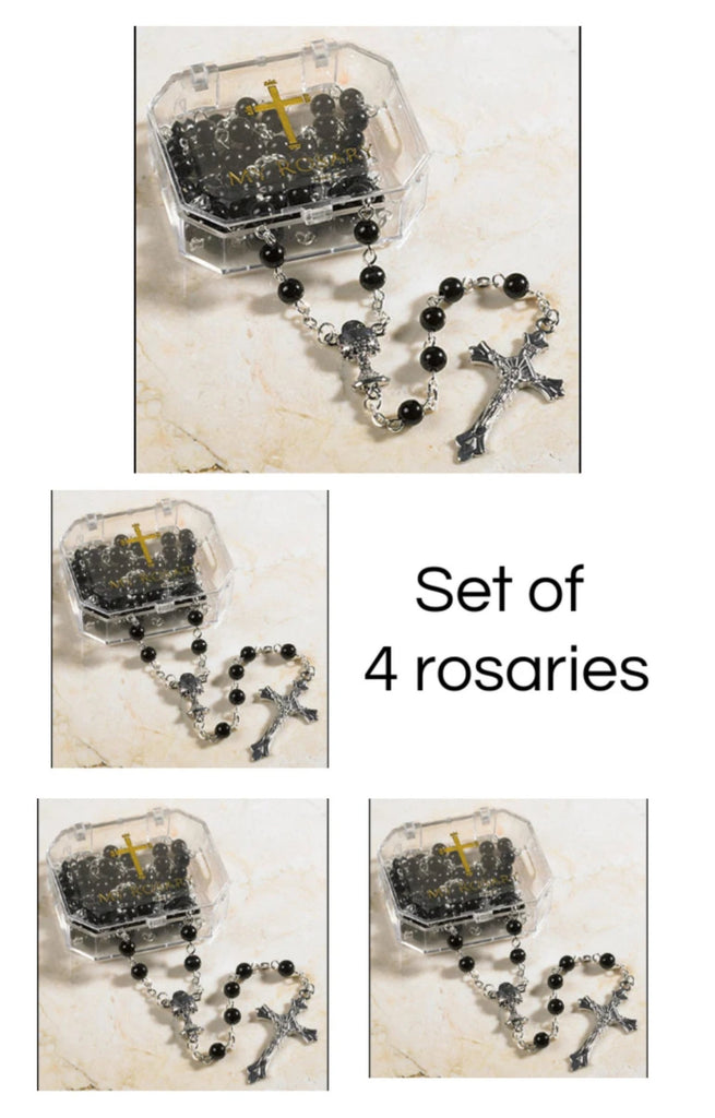 Set of 4 Black First Communion Rosaries