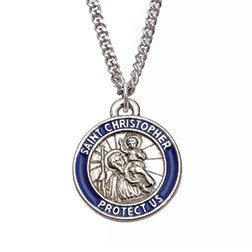 Saint Christopher With Blue Patron Saint Of Travelers