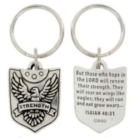 Strength Shield Pewter Key Ring Christian Gift