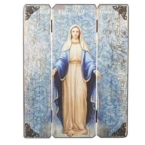 Our Lady of Grace Madonna Wooden Pannel Wall Plaque 17 Inch Tall