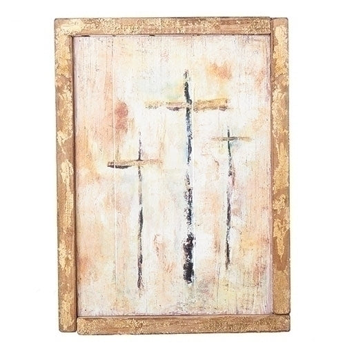 Three Cross Wooden Wall Plaque