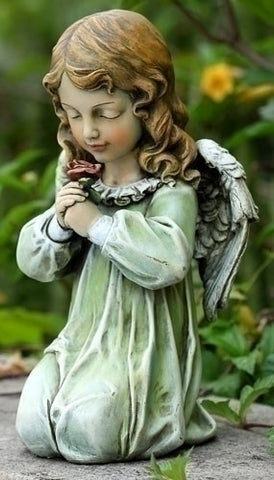 Guardian Angel Kneeling With Rose Garden Statue