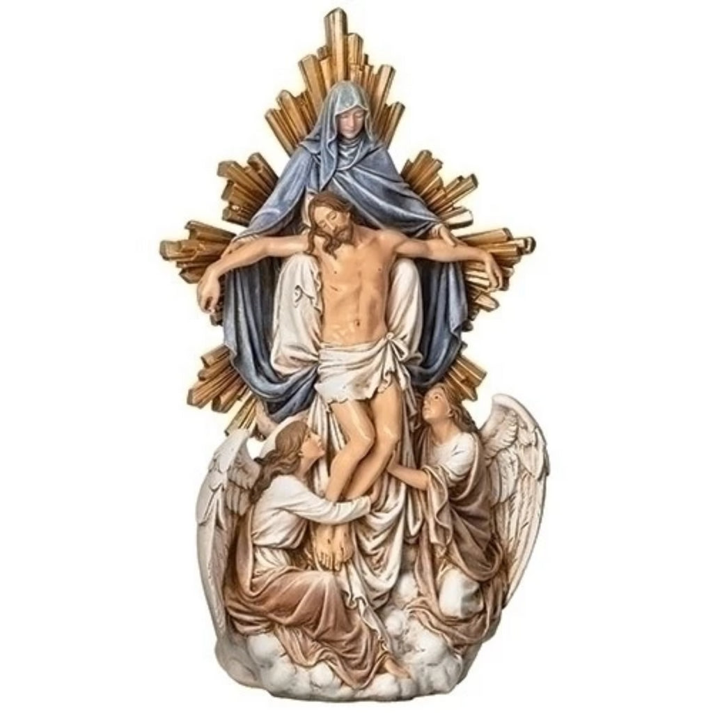 Jesus with angels and sorroful Mother Mary figure