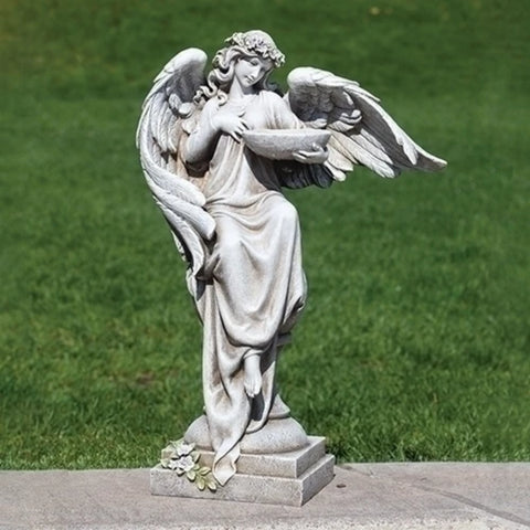 Angel With Bird Bath Garden Statue