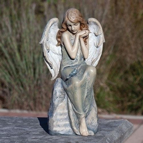 Angel With Blue Bird Of Happiness Garden Statue