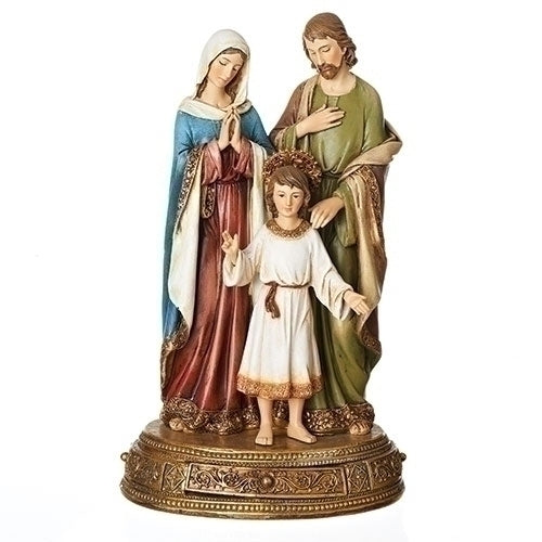 Ornate Holy Familu statue hand painted in color