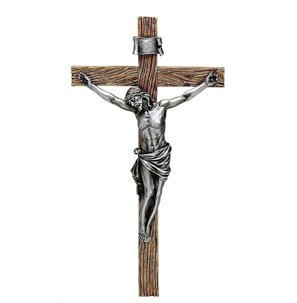 "Antiqued Silver Jesus Wall Crucifix 20"" Tall"