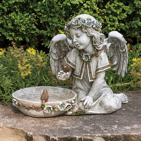 Sweet Angel Solar Bird Bath Garden Statue   NOW AVAILABLE