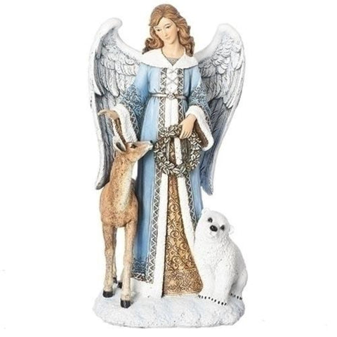 Snowy Winter Angel With Wreath And Deer