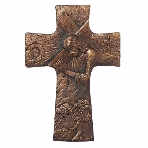 Jesus carrying cross 17 inch wall crucifix